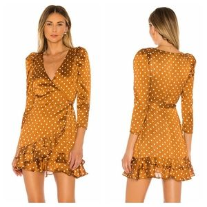 Tularosa Rylan Polka Dot Mini Wrap Dress